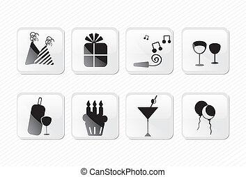 birthday icons glass effect