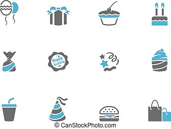 Birthday icons in duo tone colors.