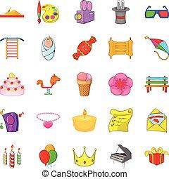Birthday icons set, cartoon style