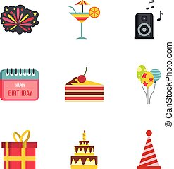 Birthday icons set, flat style