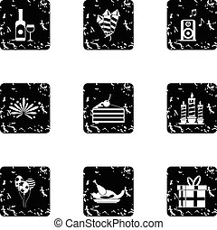 Birthday icons set, grunge style