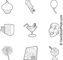 Birthday icons set, outline style