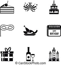 Birthday icons set, simple style