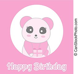 Birthday illustration with cute baby pink panda on circle frame