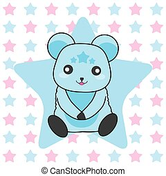 Birthday illustration with cute blue bear on stars background