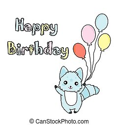 Birthday illustration with cute blue dog and balloons