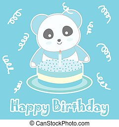 Birthday illustration with cute blue panda and birthday cake on blue background