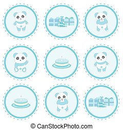 Birthday illustration with cute blue panda, gifts and birthday cake on circle frame