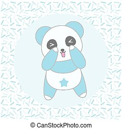 Birthday illustration with cute blue panda on sprinkles background