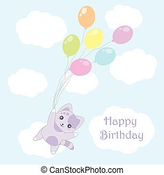 Birthday illustration with cute purple cat bring balloons on sky background