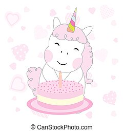 Birthday illustration with cute unicorn girl with birthday cake