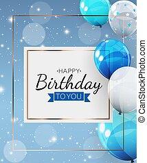 Birthday invitation background with balloons. Vector Illustration