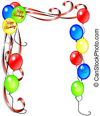 Birthday Balloons illustration for invitation, background, card or stationery with copy space