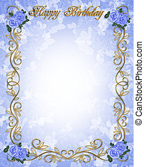 Birthday invitation Blue roses