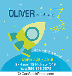 Birthday Invitation Card - Space and Rocket Theme - with place for your text - in vector