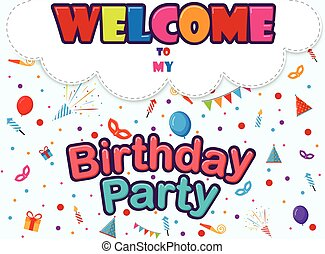 Birthday invitation card with party
