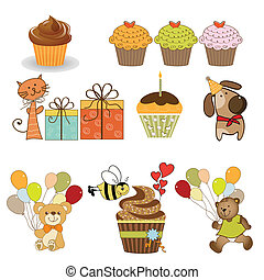 birthday items set in vector format isolated on white background