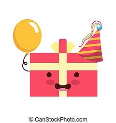 birthday kawaii cartoon gift box balloons party