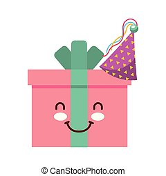 birthday kawaii cartoon gift box hat party