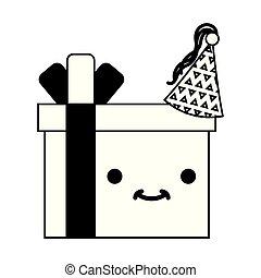 birthday kawaii cartoon gift box with hat