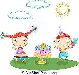 Birthday kids - Cute bithday card with a boy and a girl