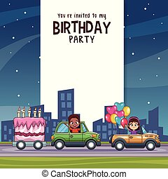 Birthday kids invitation party card