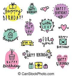 birthday, lettering., セット