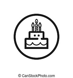 Birthday line icon on a white background