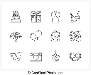 Birthday Line Icons