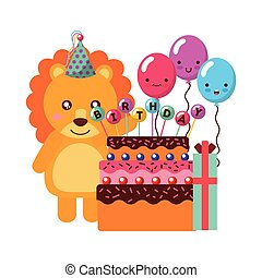birthday lion cake and balloons gift
