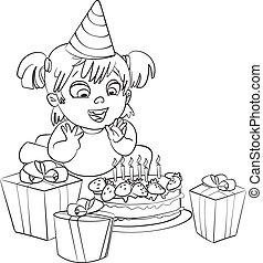 Cake coloring book. Cake outline illustration for a ...