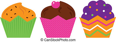 Birthday Muffin set isolated on white