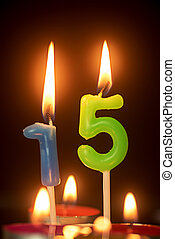 birthday number anniversary candle : 15 year old