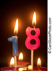 birthday number anniversary candle : 18 year old