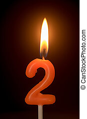 birthday number anniversary candle : number 2