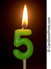 birthday number anniversary candle : number 5