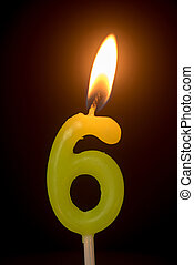 birthday number anniversary candle : number 6