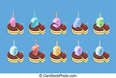 Birthday number candles and cake set. Celebratory chocolate pie with cherries. Piece of dessert  isometrics. Set of numbers for anniversary
