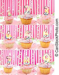 birthday number cupcakes