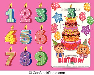 Birthday numbers candle with cute kids and cake Birthday party.