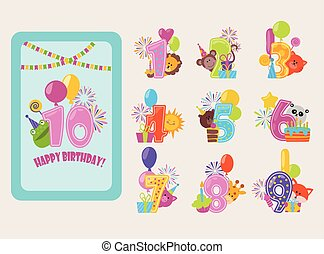 Birthday numbers vector cartoon anniversary birth balloon numbered icons birthdate party invitation card numeral 1, 2, 3, 4 and 5 year numbering template figure isolated badges illustration.