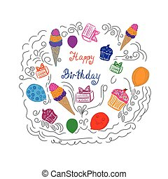 Birthday objects, sketch, vector illustration