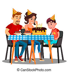 Birthday Of Child, Family Sitting At The Party Table With A Cake Vector. Isolated Illustration