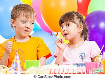 birthday of cute kids twins