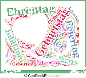 Birthday or Geburtstag Word Cloud Concept - Simple Birthday...