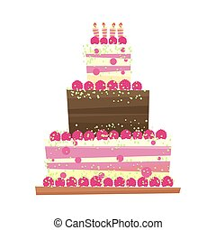 Birthday or wedding cake.Vector illustration