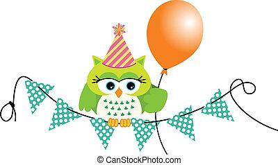 Birthday owl with balloon