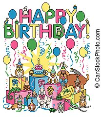 Birthday Party Animals - Vector illustration of a collection...