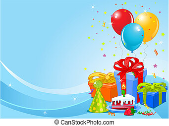 Birthday party background - Party balloons and gifts...