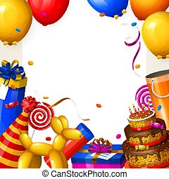 Birthday party background with balloons, cake, gift boxes, lollipop, confetti and ribbons. Place for your text. Vector.